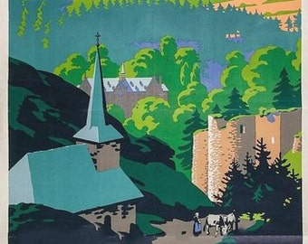 Vintage Ardennes Belgium via Harwich LNER Railway Poster A3 Print