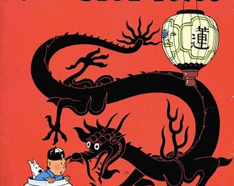 Vintage Tintin The Blue Lotus Comic Book Cover Poster A3 Print