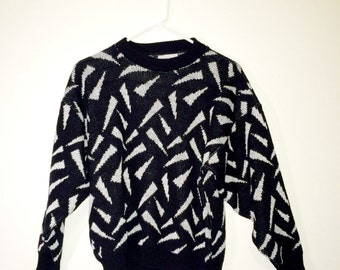 1980's Geometric Sparkle Sweater, Sparkly Sweater 80s Triangles, Shape Sweater Vintage Burlington Knit top, Degrassi shirt, black and white