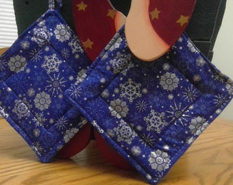 Potholders Snowflakes on Cobalt/Royal Blue