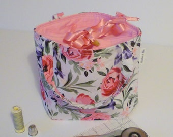 Sewing bag, pink floral craft bag, drawstring top needlework bag, gift for sewers, gift for her