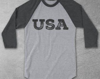 USA Baseball Tee - Vintage Graphic Tee - Raglan Shirts - 4th Of July - Retro tshirts - gifts for men & women