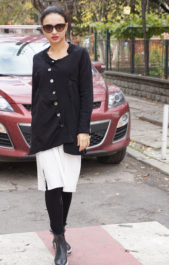 Deconstructed Black Extavagant Asymmetric Pocket Jacket Tunic / French Terry Cotton Casual Jacket Tunic