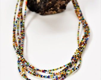 African necklace, African jewelry, Seed bead necklace, Ghana beads, African jewellery, Simple necklace, Colorful necklace