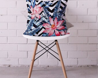 Cushion Cover • Floral Chervon