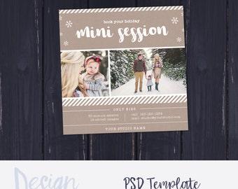 Christmas Mini Session Template | Winter Mini Session |Holiday Mini Session | Marketing Template |Photography Marketing Board | Gold