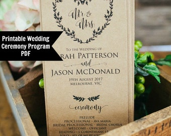 Wedding Program Template, Printable Wedding Template, Order of Service, Instant Download, Rustic Wedding Program Template, WLP101