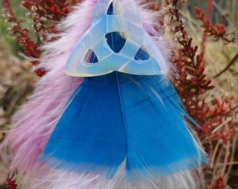 opaline triquetra keyrings and feathers
