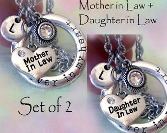Set of 2 Forever in My Heart Mother in Law & Daughter in Law Necklaces Personalized w-Letter Charms-Mother in Law Gift, Daughter in Law Gift