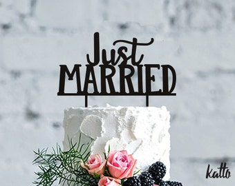 Wedding Cake Topper-Just Married cake Topper Cake- Decoration wedding topper Cake- Toppers custom cake topper- wedding cake topper custom