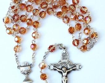 Crystal Copper AB Swarovski Sterling Silver Rosary