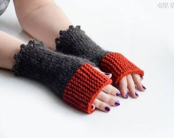 Terracotta gray mittens, Terracotta wool fingerless gloves, Orange arm warmers, Boho mittens
