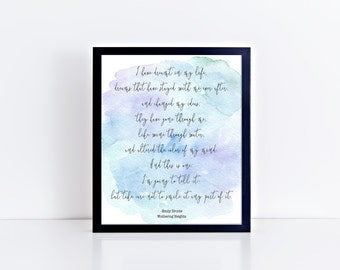 Wuthering Heights Emily Bronte Literary Gifts Valentines Gift Literary Quotes Literary Prints Literary Poster Gift for Him Gift for Her