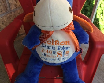 Personalized Stuffed Animal, Blue Dragon Cubby, Birth stats