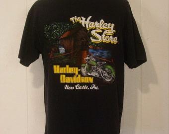 T-shirts, vintage, Harley Davidson, Motorcycles, motorcycle, biker shirt, large, pocket t-shirt, New Castle, Pa, L