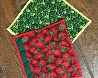 Quilted hot pad, quilted hotpad, hot pad, pot holder, vegetable kitchen decor