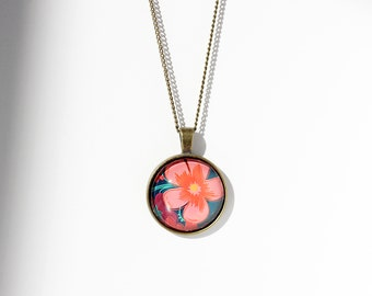 Pink Flower Pendant Flower Jewelry Flower Necklace Gift for Her