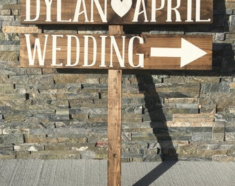 Rustic Wedding Signs - Rustic Wedding Sign - Reception Signs - Personalized Sign - Rustic - Shabby Chic - Directional Wedding Sign