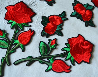 Red big flower patch, Embroidery Patch-Iron, Rose patch, Red floral applique, Embroidered applique, Flower applique, Decor clothes, bags