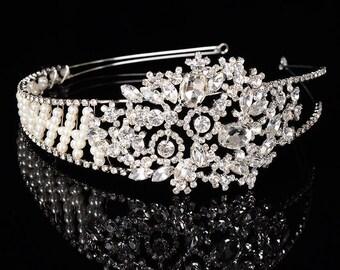 Luxury Handmade Pearl and Crystal Floral Headband