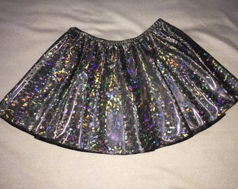 Silver Holographic Jazz Skirt