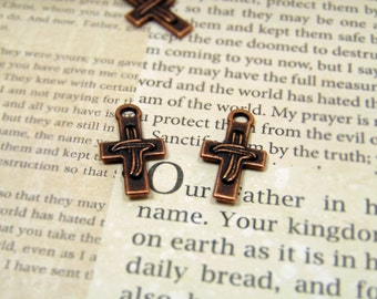 10 pcs - Antique Copper - Cross Charms - Christian Charms- Religious Charms - Bracelet Charms - Necklace Charms - Earring Findings  - C0059