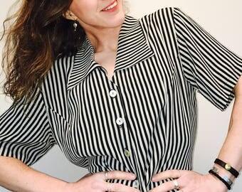Vintage Striped Blouse M