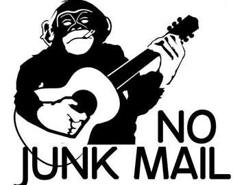 NO JUNK MAIL Sticker x2 - No Junk Mail Decal - Funky Monkey Sticker -