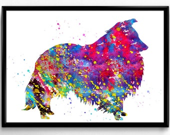 Shetland Sheepdog Art, Watercolor Print, Animal Print, Children's Nursery Wall Art, Instant Download, Poster, printable wall art  (648)