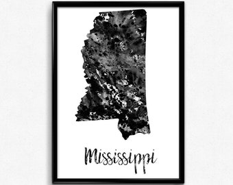 Map of Mississippi, United States of America, Black and White Map, Travel, Watercolor, Room Decor, Poster, gift, Print, Wall Art (757)