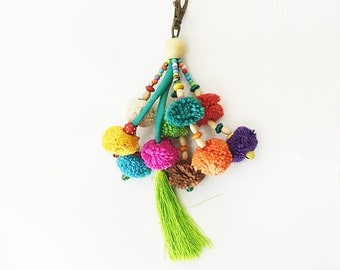 Colorful Cotton Pompoms Keychain With Silk Tassel