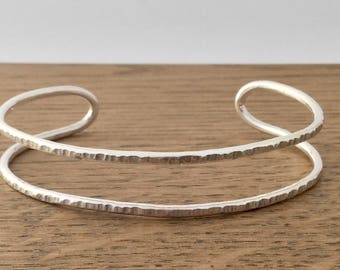 Silver textured double cuff bangle, hallmarked