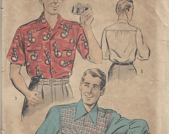 """1940s Vintage Sewing Pattern Size - 14-14 1/2"""" (Chest: 34-36"""") MENS SHIRT (1778)"""