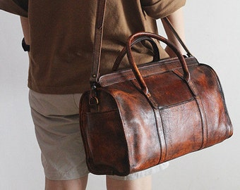 Cocoa Brown Leather Travel Bag/Leather Carry On Bag/Women Overnight Leather Purse/Top Handle Travel Bag