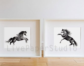 Watercolor Black Horses print, Animal giclee print, Black Horses Wall Art, Black and white Horses Home Decor, Black Horses Animal painting