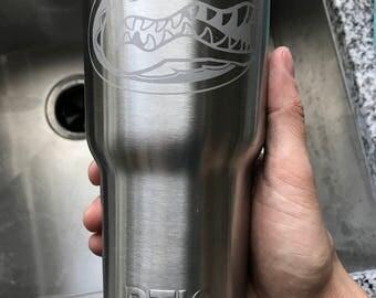 30oz Florida Gators Engraved Stainless Steel Thermos Yeti Rambler RTIC Tumbler Ozark Trail Gift Personalized