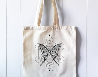 Tote Cotton Bag, Canvas Shopper, Shopping bag,  Print Luna Moth and Sacred Geometry