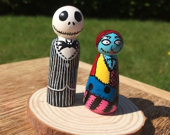 Nightmare before christmas Jack and Sally hand painted peg dolls