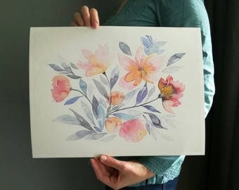 WATERCOLOR FLOWERS Blue and pink blooming Art print of my watercolor painting // blue pink poster // floral print // home decor // 8x11 inch