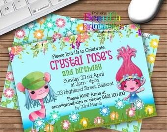 Birthday Party Invitations, Trolls Party Invitation, Printable invitation, Any age Birthday, Custom Download