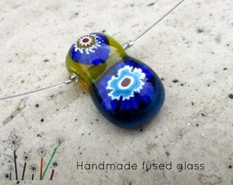 Fused Glass Pendant Necklace, Blue Yellow Millefiori Glass Pendant, Handmade Glass Art Chain, Necklace Jewellery Gift, Womens Birthday Gift