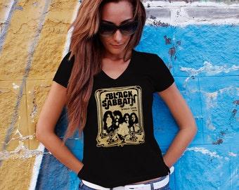 Black Sabbath Women T-shirt Black Sabbath V Neck  Tshirt Black Sabbath Women Shirt Black Sabbath Tee Rock T-shirt Model 6