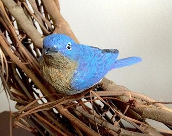 2Pk Blue Bird, Clip On Bird Decorations, Wreath Decoration, Bird Cage Decoration, Birdhouse decoration
