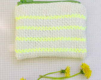 Electric Dandelion - cream and fluorescent yellow pouch - Handwoven and Lined Zipper Coin Pouch - repurposed lining - Handmade in USA