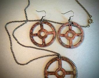 Brass Patina CLOCK GEAR Pendant & Earrings - Steampunk - #4