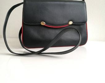 GUCCI Vintage Navy Leather Shoulder / Messenger bag