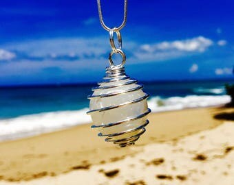 "Small Crystal Ball wrapped in Silver Spring on 28"" Silver Chain"