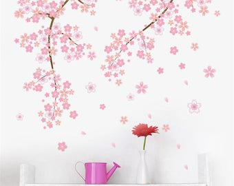 Cherry Blossom Wall Decal, Sakura Flower Wall Decal, Tree Wall Decal, Wall decal for Living Room, Vinyl Wall Decals, Wall Decal Flowers