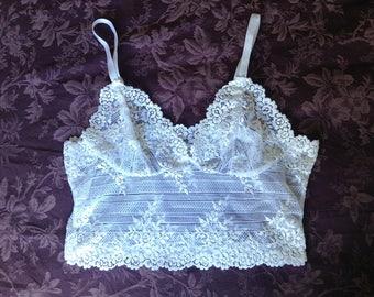 white floral lace longline bralette lace crop top