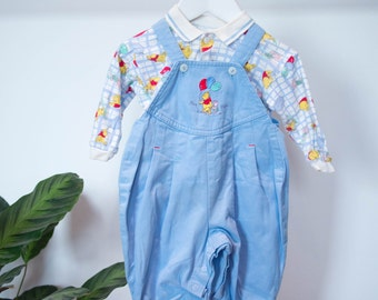 Kid's Vintage Winnie the Pooh Dungarees & Top Combo